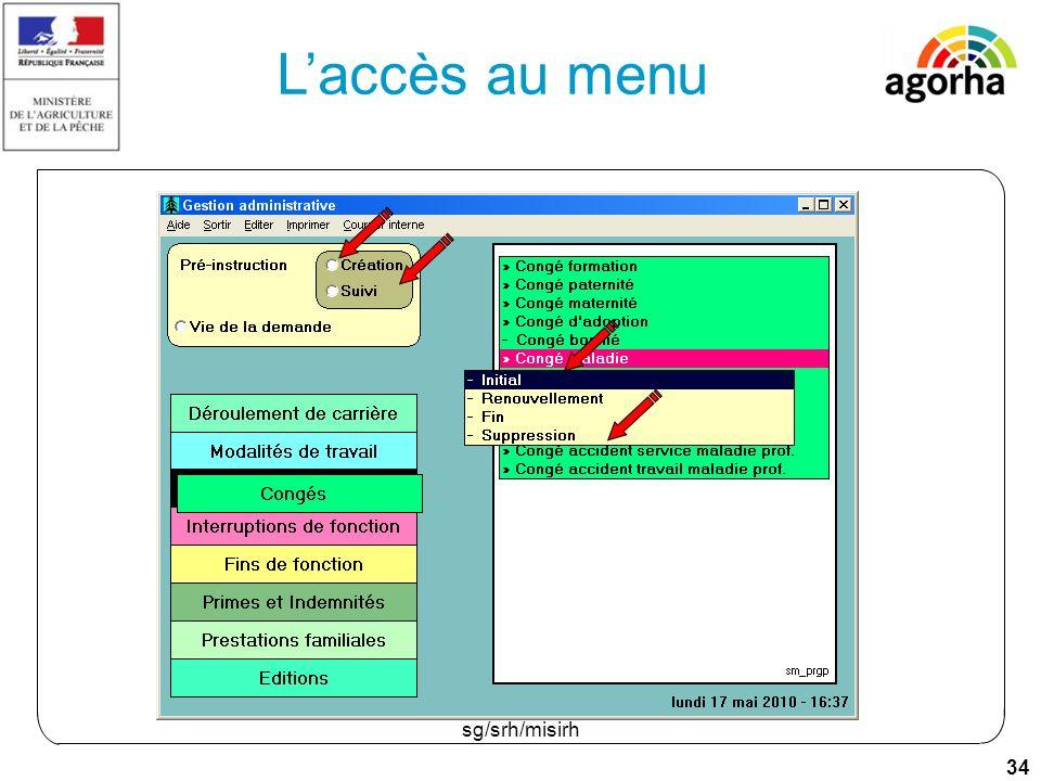 34 sg/srh/misirh Laccès au menu