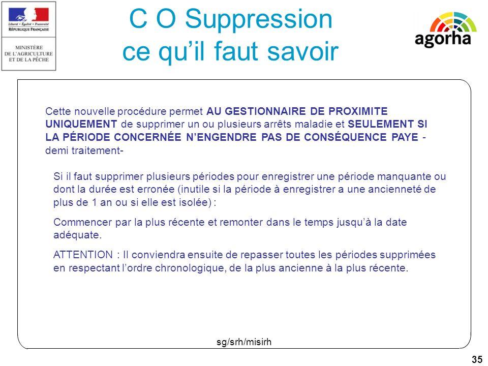 35 sg/srh/misirh C O Suppression ce quil faut savoir Cette nouvelle procédure permet AU GESTIONNAIRE DE PROXIMITE UNIQUEMENT de supprimer un ou plusieurs arrêts maladie et SEULEMENT SI LA PÉRIODE CONCERNÉE NENGENDRE PAS DE CONSÉQUENCE PAYE - demi traitement- Si il faut supprimer plusieurs périodes pour enregistrer une période manquante ou dont la durée est erronée (inutile si la période à enregistrer a une ancienneté de plus de 1 an ou si elle est isolée) : Commencer par la plus récente et remonter dans le temps jusquà la date adéquate.