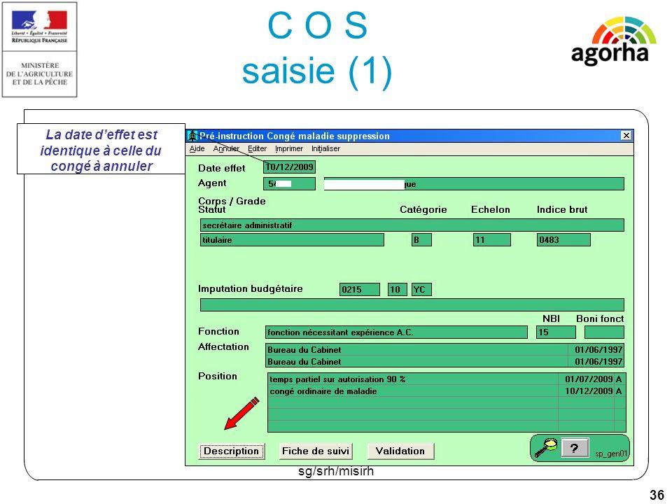 36 sg/srh/misirh C O S saisie (1) La date deffet est identique à celle du congé à annuler
