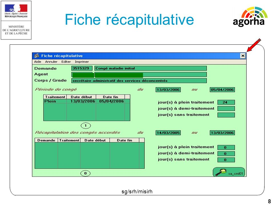 19 sg/srh/misirh Fiche récapitulative La période de référence inscrite dans la réglementation est de 12 mois.