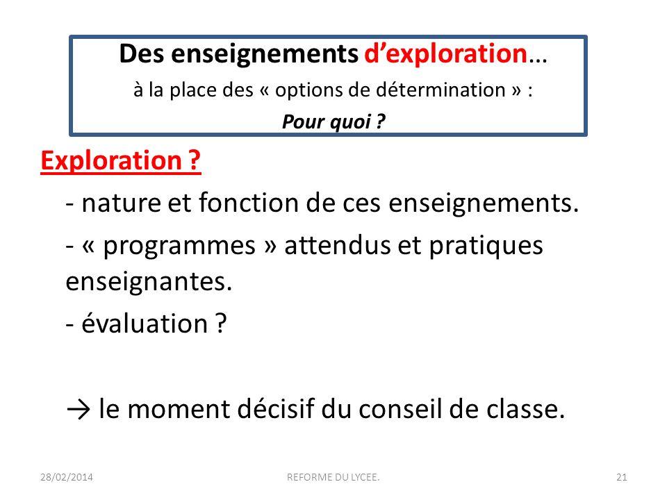 Des enseignements dexploration… à la place des « options de détermination » : Pour quoi ? Exploration ? - nature et fonction de ces enseignements. - «