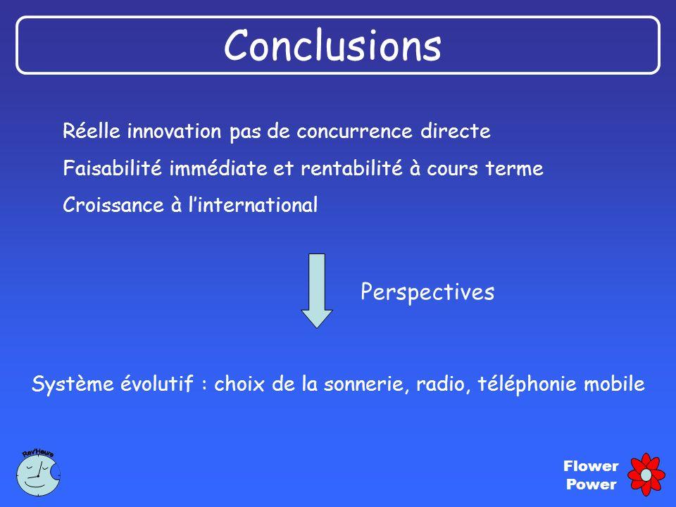 Flower Power Conclusions Réelle innovation pas de concurrence directe Faisabilité immédiate et rentabilité à cours terme Croissance à linternational S