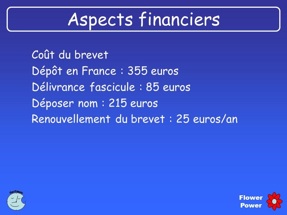 Flower Power Aspects financiers Coût du brevet Dépôt en France : 355 euros Délivrance fascicule : 85 euros Déposer nom : 215 euros Renouvellement du b