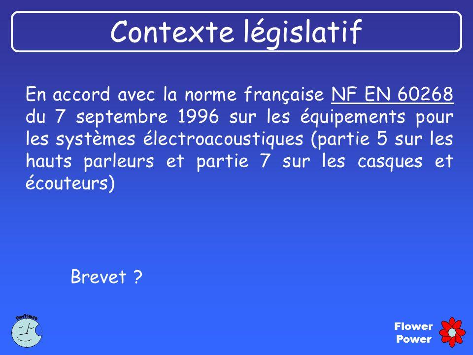 Flower Power En accord avec la norme française NF EN 60268 du 7 septembre 1996 sur les équipements pour les systèmes électroacoustiques (partie 5 sur