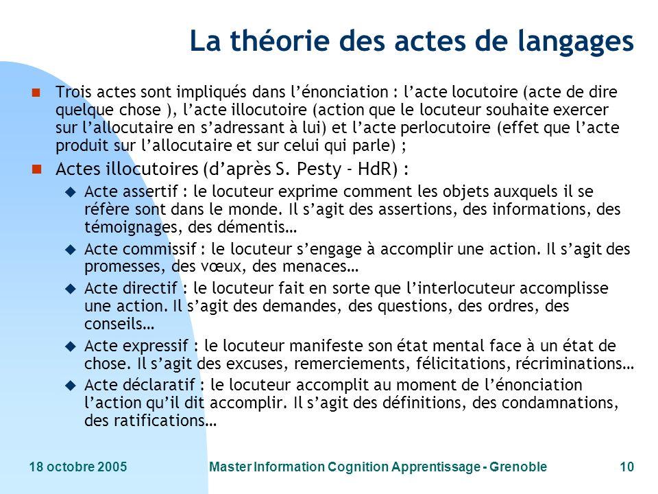 18 octobre 2005Master Information Cognition Apprentissage - Grenoble10 La théorie des actes de langages n Trois actes sont impliqués dans lénonciation