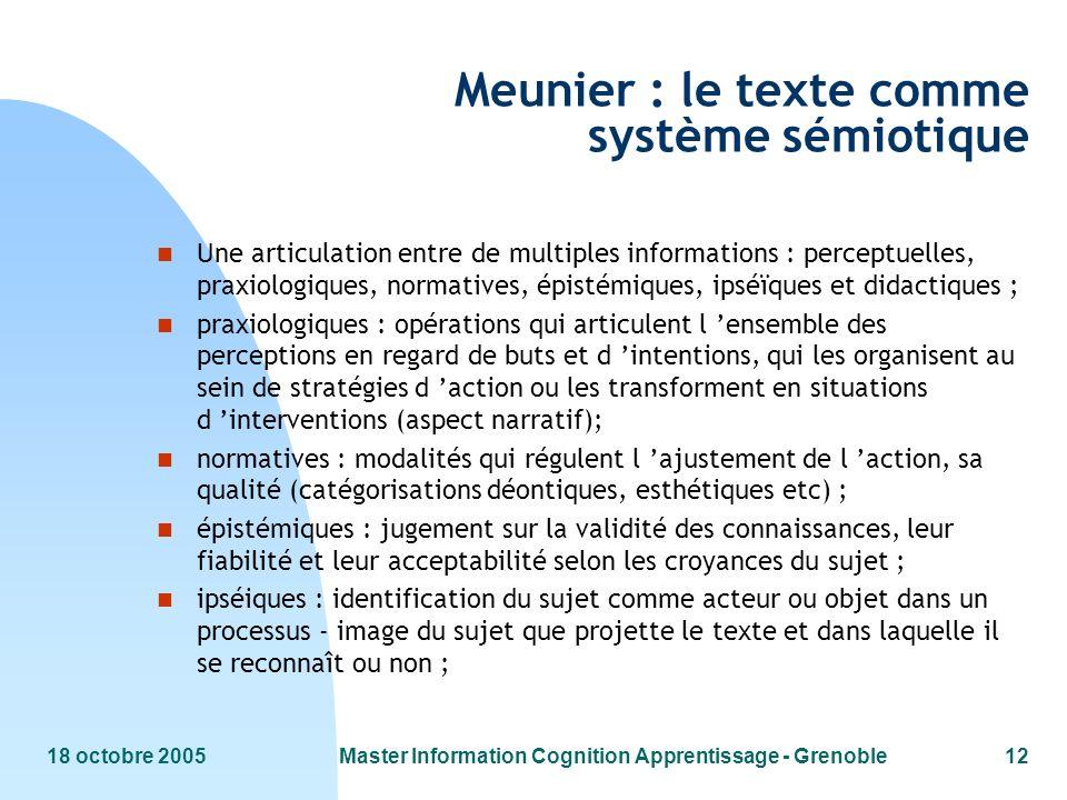 18 octobre 2005Master Information Cognition Apprentissage - Grenoble12 Meunier : le texte comme système sémiotique n Une articulation entre de multipl