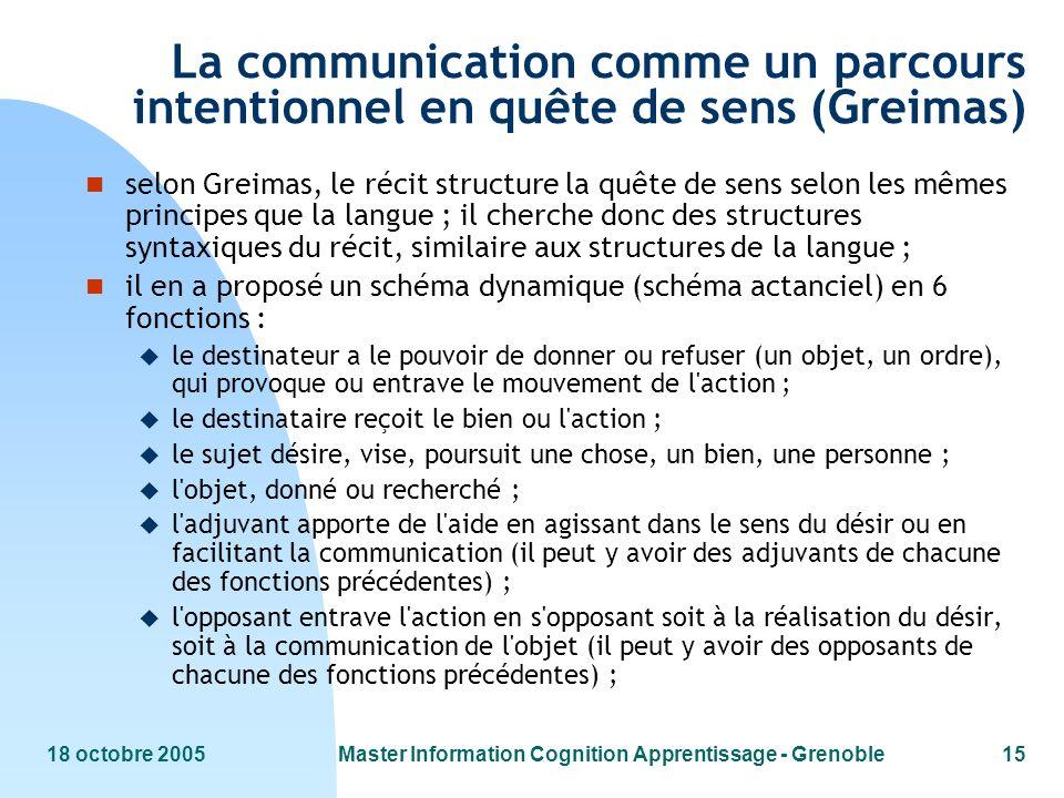 18 octobre 2005Master Information Cognition Apprentissage - Grenoble15 La communication comme un parcours intentionnel en quête de sens (Greimas) n se
