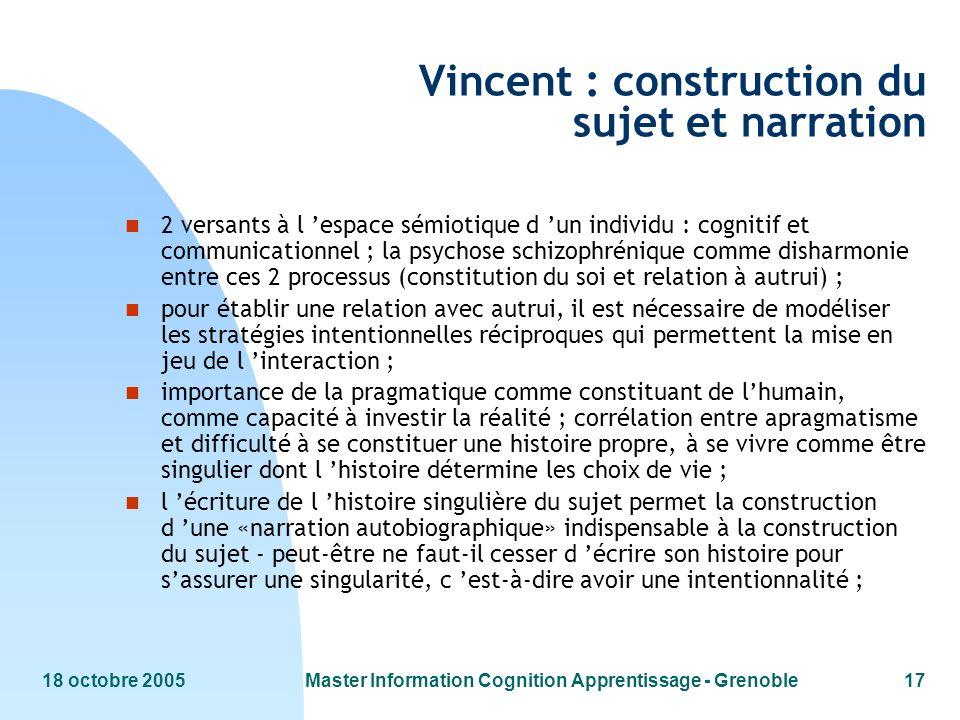 18 octobre 2005Master Information Cognition Apprentissage - Grenoble17 Vincent : construction du sujet et narration n 2 versants à l espace sémiotique