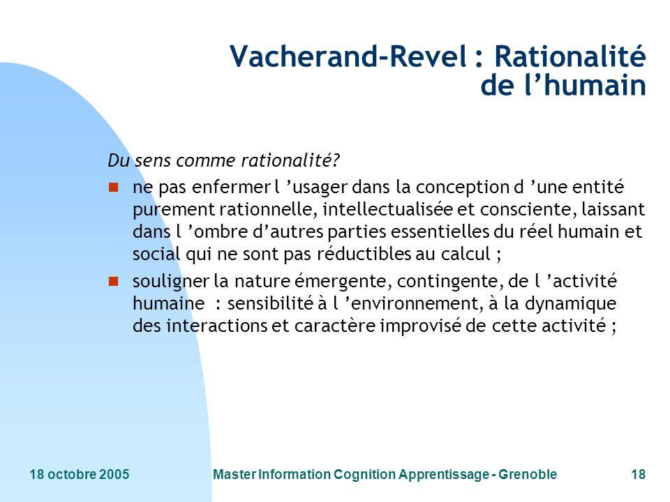 18 octobre 2005Master Information Cognition Apprentissage - Grenoble18 Vacherand-Revel : Rationalité de lhumain Du sens comme rationalité.