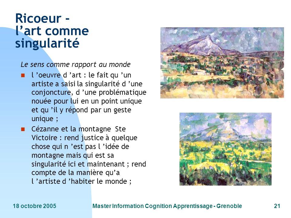 18 octobre 2005Master Information Cognition Apprentissage - Grenoble21 Ricoeur - lart comme singularité Le sens comme rapport au monde n l oeuvre d ar