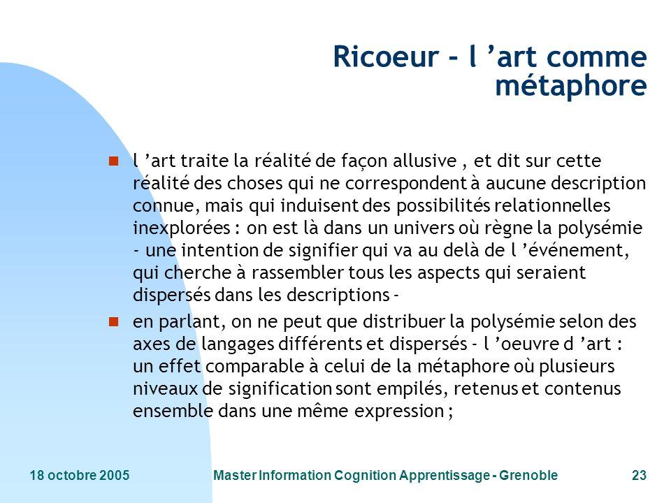18 octobre 2005Master Information Cognition Apprentissage - Grenoble23 Ricoeur - l art comme métaphore n l art traite la réalité de façon allusive, et