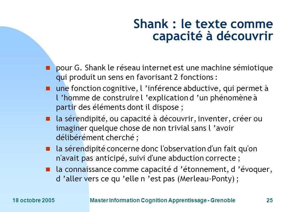 18 octobre 2005Master Information Cognition Apprentissage - Grenoble25 Shank : le texte comme capacité à découvrir n pour G. Shank le réseau internet