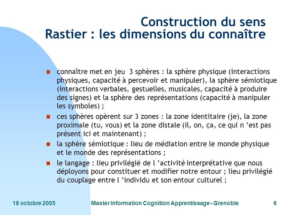 18 octobre 2005Master Information Cognition Apprentissage - Grenoble6 Construction du sens Rastier : les dimensions du connaître n connaître met en je