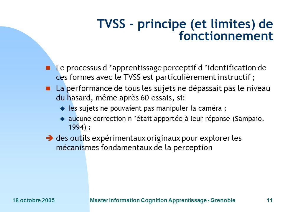 18 octobre 2005Master Information Cognition Apprentissage - Grenoble11 TVSS - principe (et limites) de fonctionnement n Le processus d apprentissage p