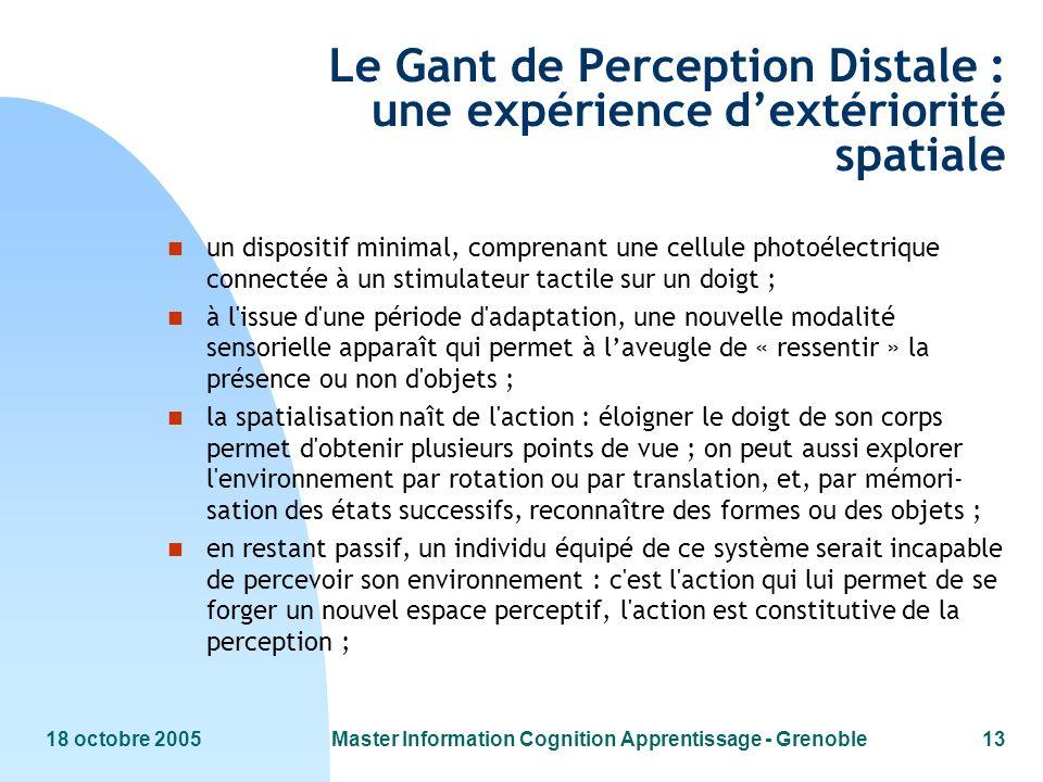 18 octobre 2005Master Information Cognition Apprentissage - Grenoble13 Le Gant de Perception Distale : une expérience dextériorité spatiale n un dispo