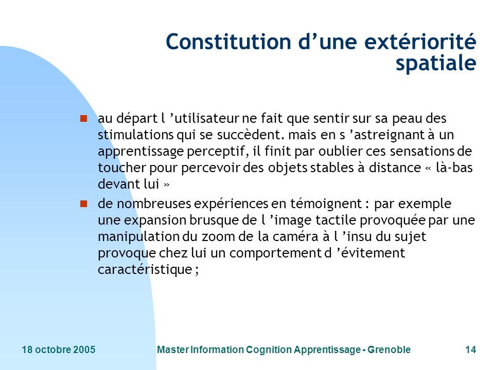 18 octobre 2005Master Information Cognition Apprentissage - Grenoble14 Constitution dune extériorité spatiale n au départ l utilisateur ne fait que se