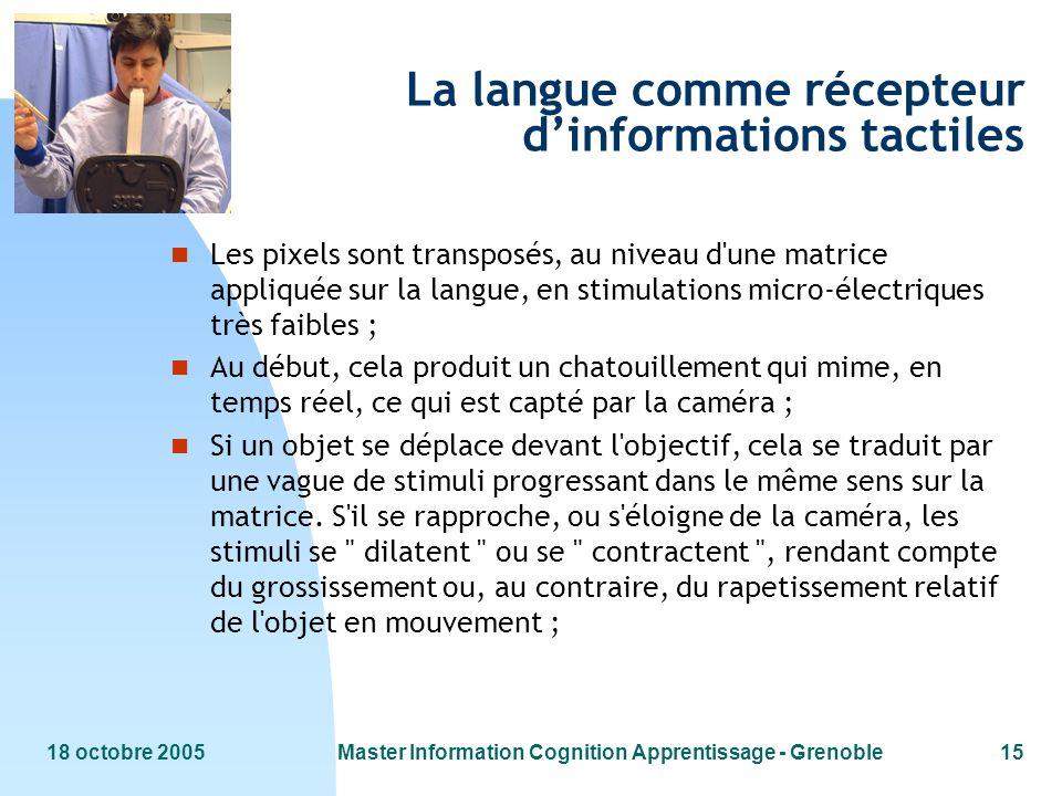 18 octobre 2005Master Information Cognition Apprentissage - Grenoble15 La langue comme récepteur dinformations tactiles n Les pixels sont transposés,