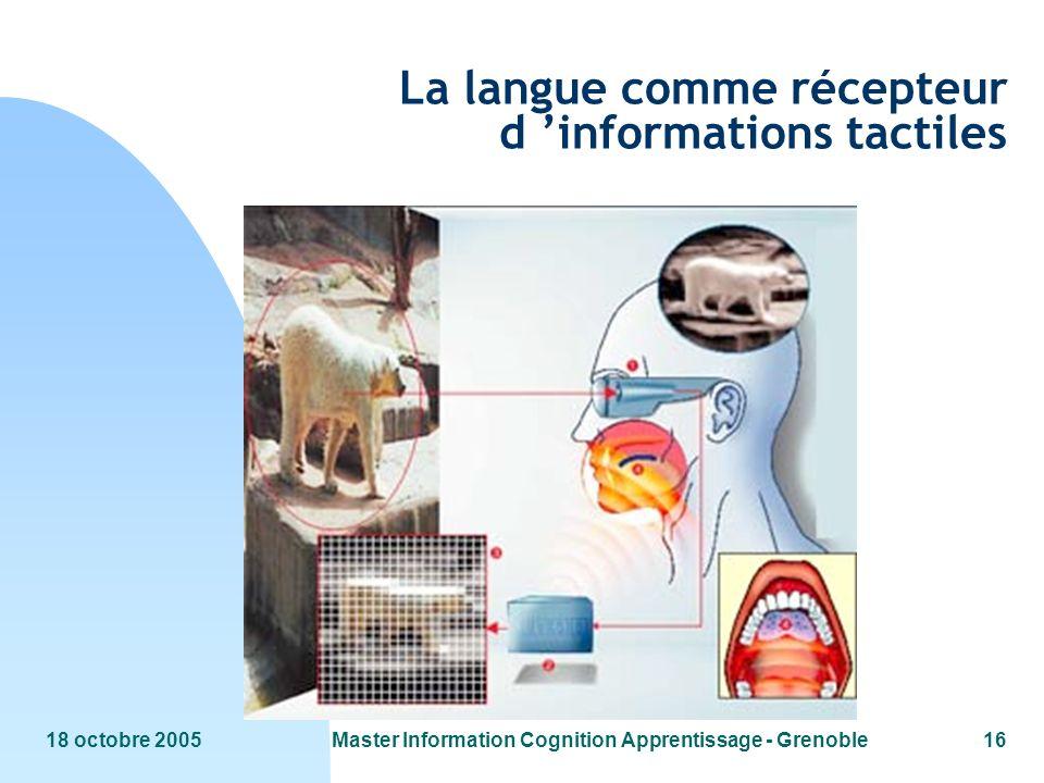 18 octobre 2005Master Information Cognition Apprentissage - Grenoble16 La langue comme récepteur d informations tactiles