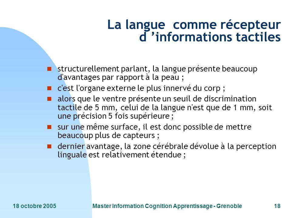18 octobre 2005Master Information Cognition Apprentissage - Grenoble18 La langue comme récepteur d informations tactiles n structurellement parlant, l