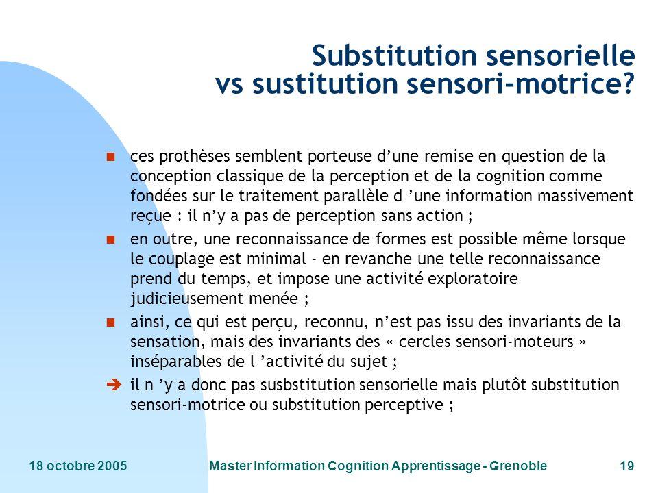 18 octobre 2005Master Information Cognition Apprentissage - Grenoble19 Substitution sensorielle vs sustitution sensori-motrice? n ces prothèses semble