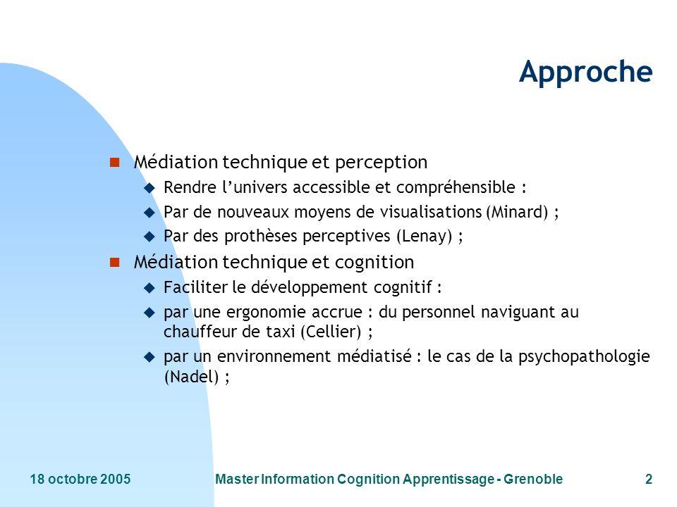 18 octobre 2005Master Information Cognition Apprentissage - Grenoble2 Approche n Médiation technique et perception u Rendre lunivers accessible et com
