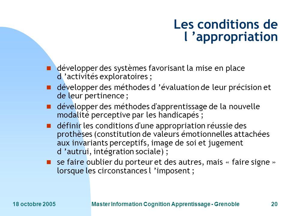 18 octobre 2005Master Information Cognition Apprentissage - Grenoble20 Les conditions de l appropriation n développer des systèmes favorisant la mise