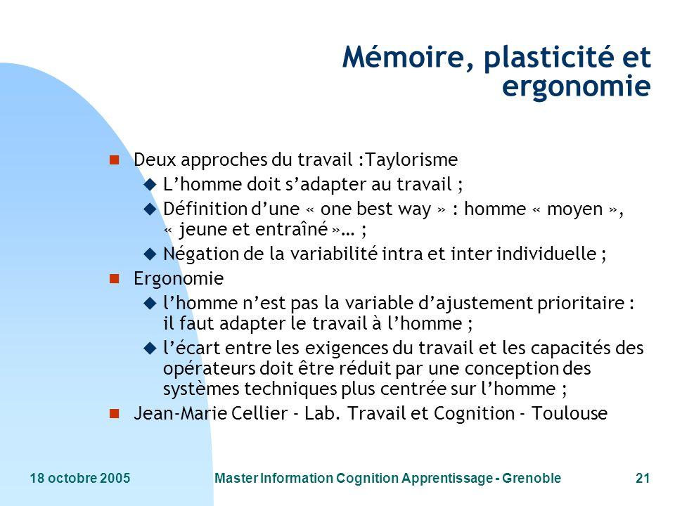 18 octobre 2005Master Information Cognition Apprentissage - Grenoble21 Mémoire, plasticité et ergonomie n Deux approches du travail :Taylorisme u Lhom