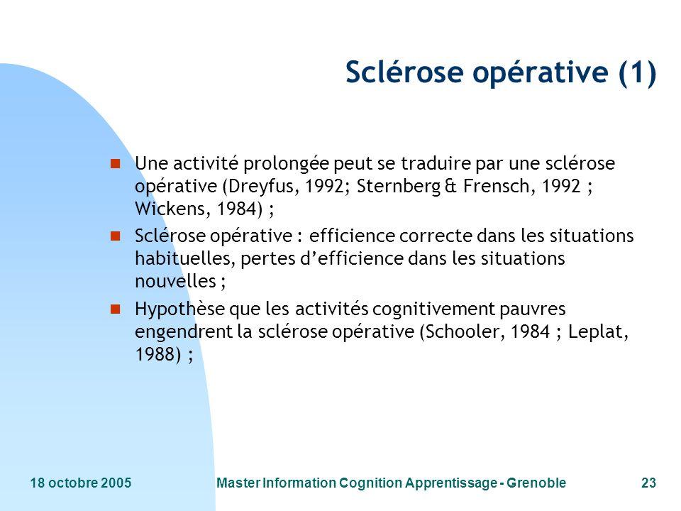 18 octobre 2005Master Information Cognition Apprentissage - Grenoble23 Sclérose opérative (1) n Une activité prolongée peut se traduire par une scléro