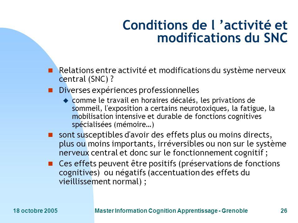 18 octobre 2005Master Information Cognition Apprentissage - Grenoble26 Conditions de l activité et modifications du SNC n Relations entre activité et