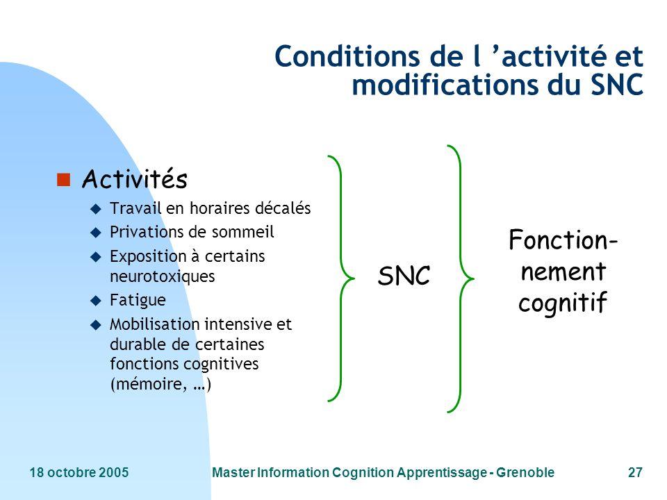 18 octobre 2005Master Information Cognition Apprentissage - Grenoble27 SNC Fonction- nement cognitif Conditions de l activité et modifications du SNC