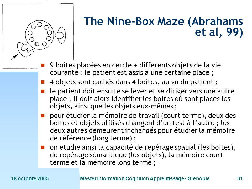 18 octobre 2005Master Information Cognition Apprentissage - Grenoble31 The Nine-Box Maze (Abrahams et al, 99) n 9 boites placées en cercle + différent