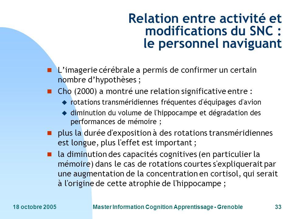 18 octobre 2005Master Information Cognition Apprentissage - Grenoble33 Relation entre activité et modifications du SNC : le personnel naviguant n Lima