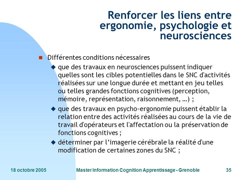 18 octobre 2005Master Information Cognition Apprentissage - Grenoble35 Renforcer les liens entre ergonomie, psychologie et neurosciences n Différentes