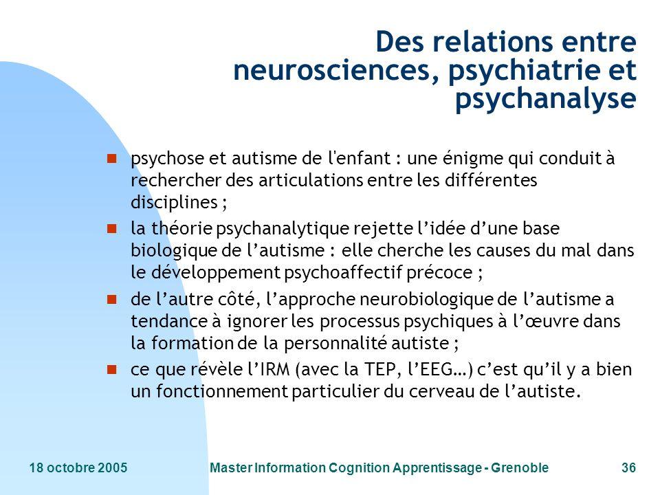 18 octobre 2005Master Information Cognition Apprentissage - Grenoble36 Des relations entre neurosciences, psychiatrie et psychanalyse n psychose et au