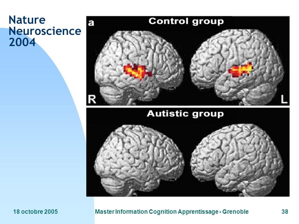 18 octobre 2005Master Information Cognition Apprentissage - Grenoble38 Nature Neuroscience 2004