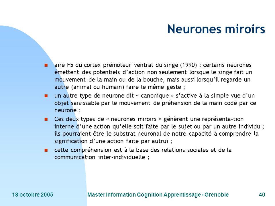 18 octobre 2005Master Information Cognition Apprentissage - Grenoble40 Neurones miroirs n aire F5 du cortex prémoteur ventral du singe (1990) : certai