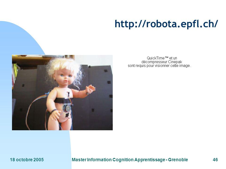 18 octobre 2005Master Information Cognition Apprentissage - Grenoble46 http://robota.epfl.ch/