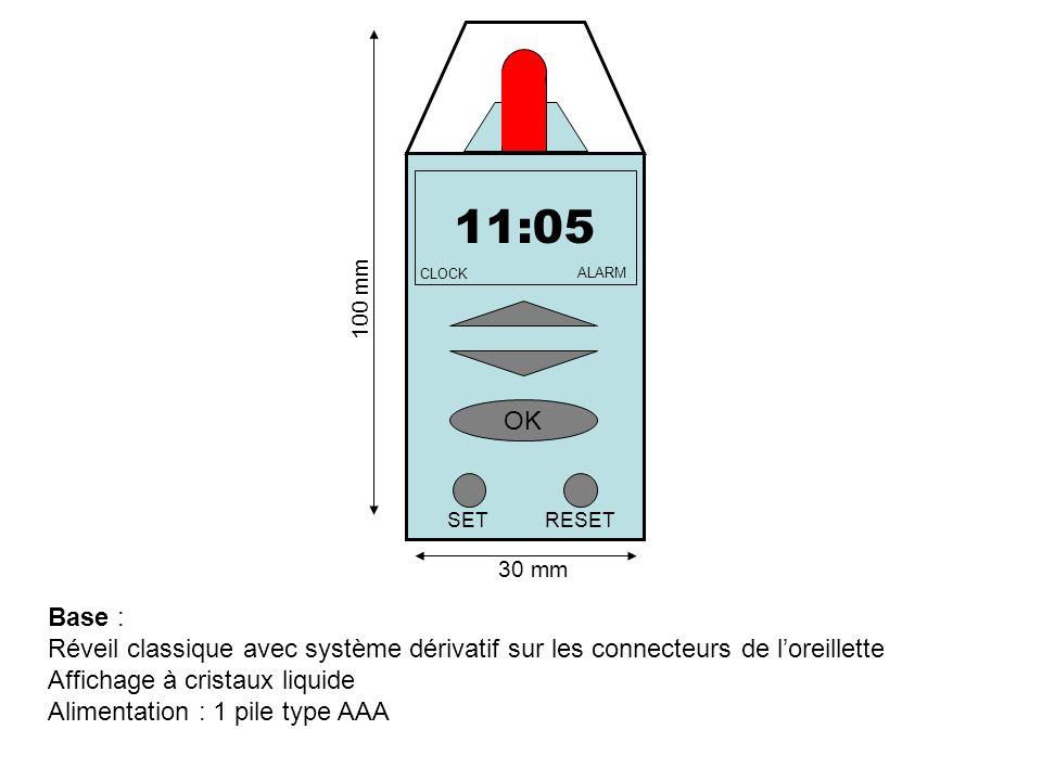 Base : Réveil classique avec système dérivatif sur les connecteurs de loreillette Affichage à cristaux liquide Alimentation : 1 pile type AAA 11:05 OK