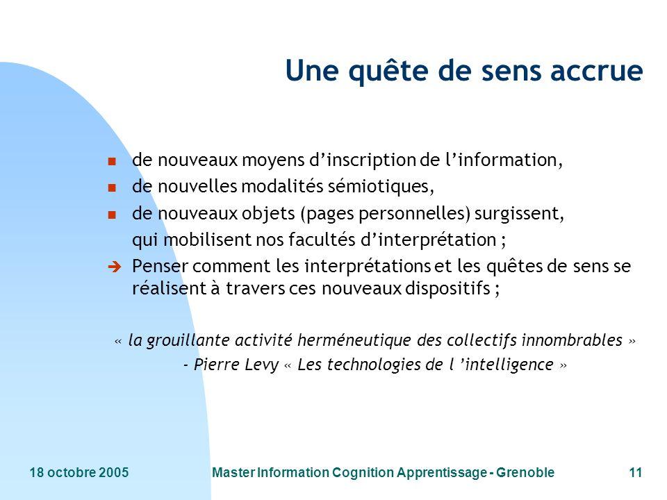 18 octobre 2005Master Information Cognition Apprentissage - Grenoble11 Une quête de sens accrue n de nouveaux moyens dinscription de linformation, n d