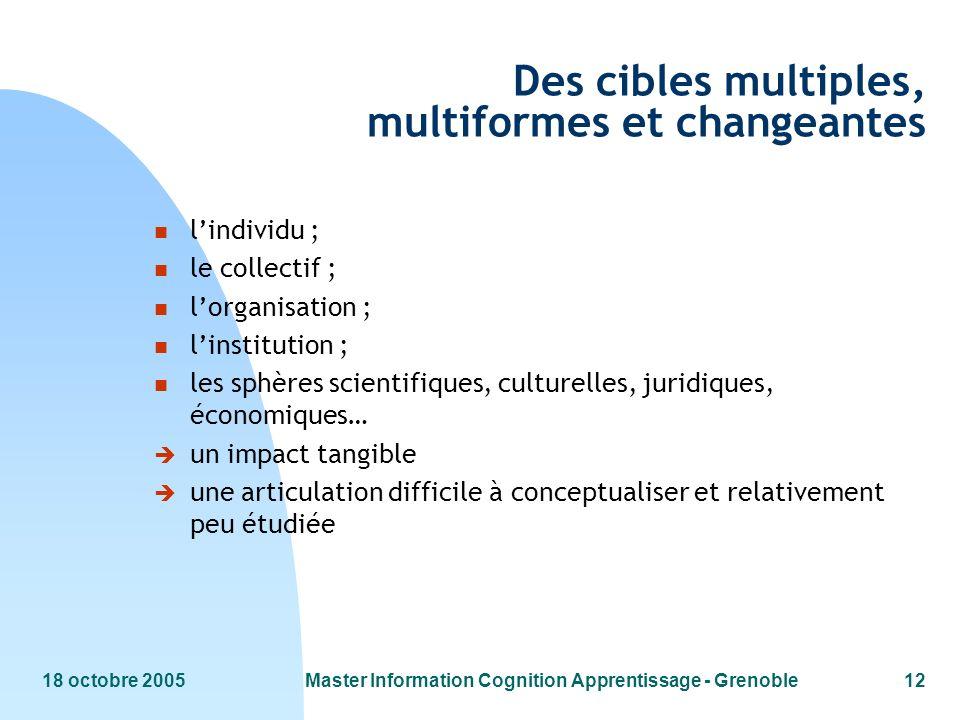 18 octobre 2005Master Information Cognition Apprentissage - Grenoble12 Des cibles multiples, multiformes et changeantes n lindividu ; n le collectif ;