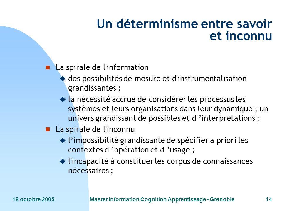 18 octobre 2005Master Information Cognition Apprentissage - Grenoble14 Un déterminisme entre savoir et inconnu n La spirale de l'information u des pos