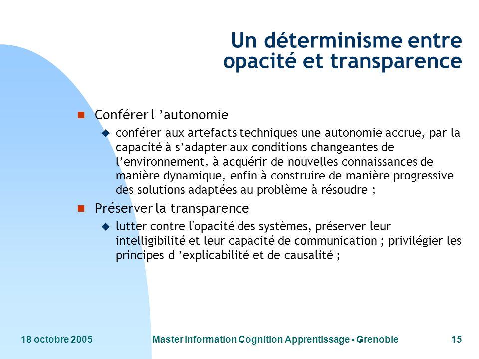 18 octobre 2005Master Information Cognition Apprentissage - Grenoble15 Un déterminisme entre opacité et transparence n Conférer l autonomie u conférer