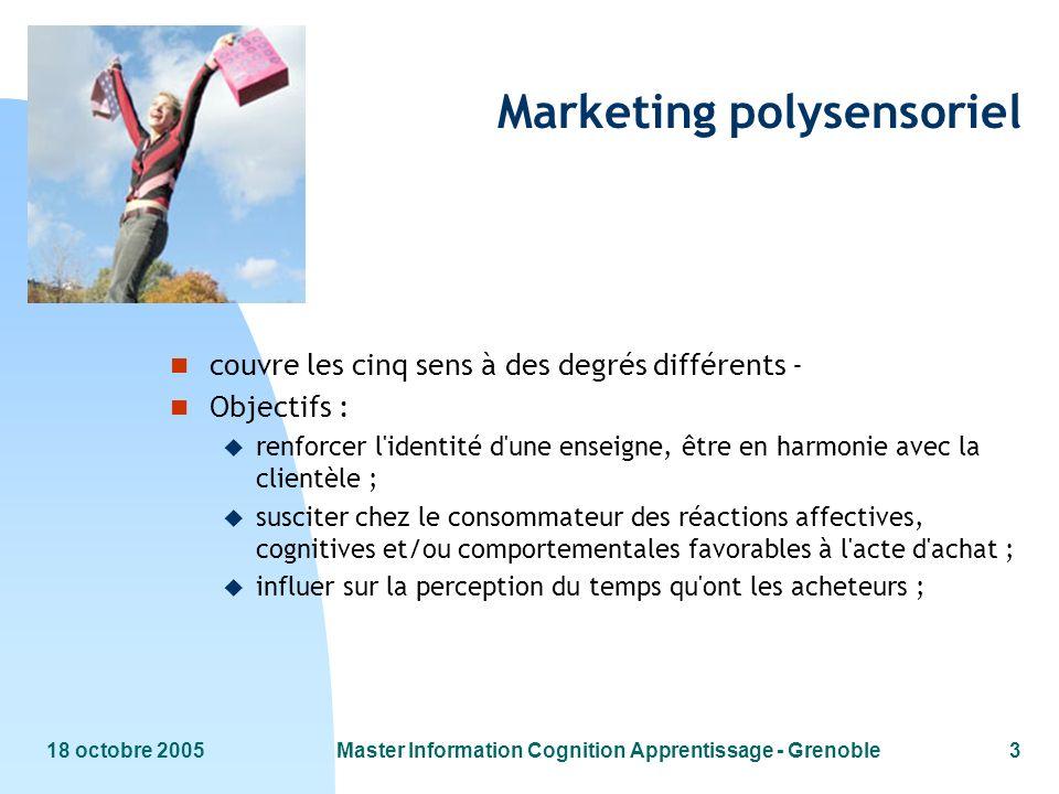 18 octobre 2005Master Information Cognition Apprentissage - Grenoble3 Marketing polysensoriel n couvre les cinq sens à des degrés différents - n Objec