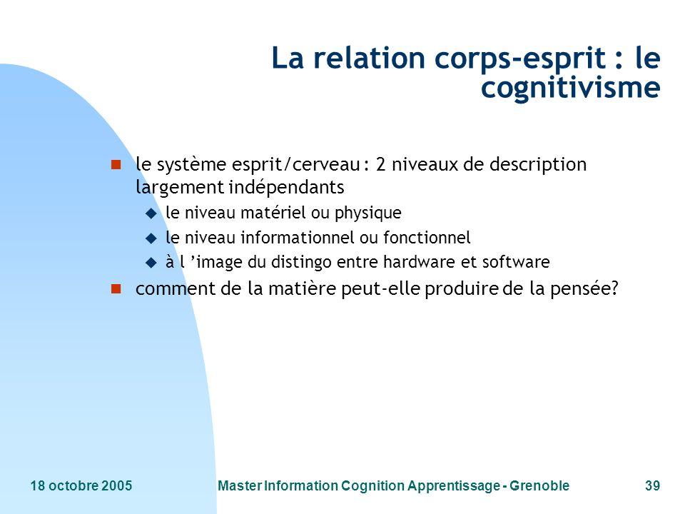 18 octobre 2005Master Information Cognition Apprentissage - Grenoble39 La relation corps-esprit : le cognitivisme n le système esprit/cerveau : 2 nive