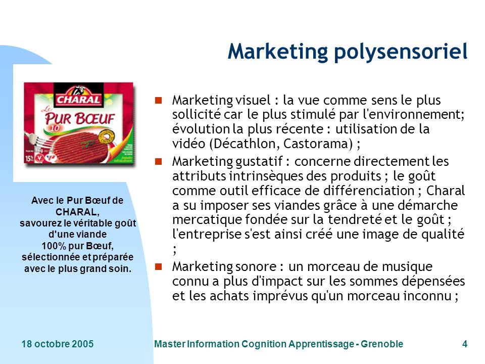 18 octobre 2005Master Information Cognition Apprentissage - Grenoble4 Avec le Pur Bœuf de CHARAL, savourez le véritable goût d'une viande 100% pur Bœu