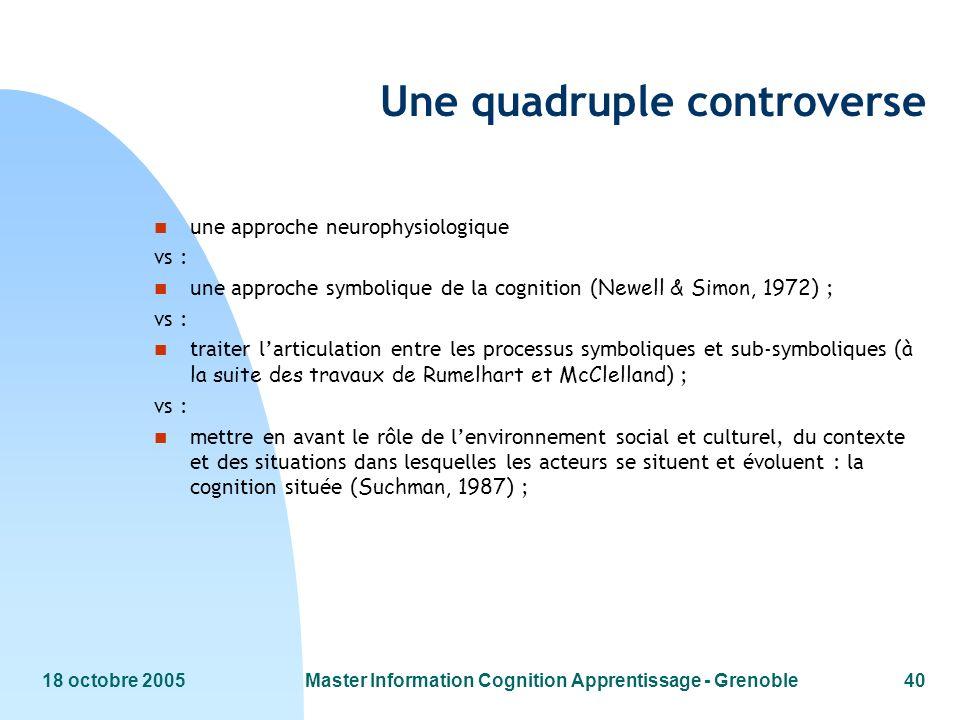 18 octobre 2005Master Information Cognition Apprentissage - Grenoble40 Une quadruple controverse n une approche neurophysiologique vs : une approche s