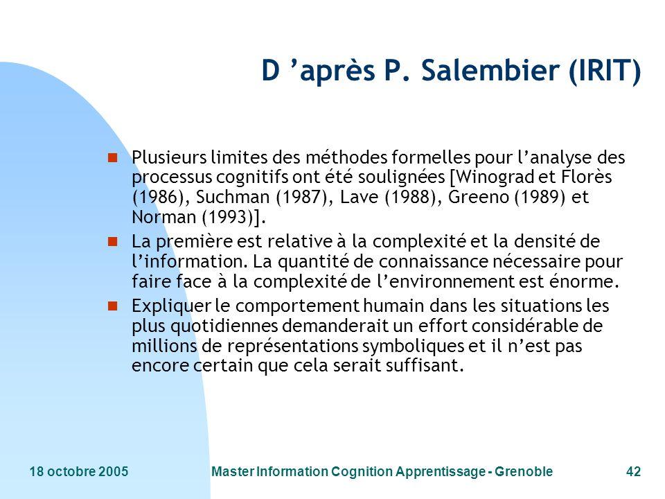 18 octobre 2005Master Information Cognition Apprentissage - Grenoble42 D après P. Salembier (IRIT) n Plusieurs limites des méthodes formelles pour lan