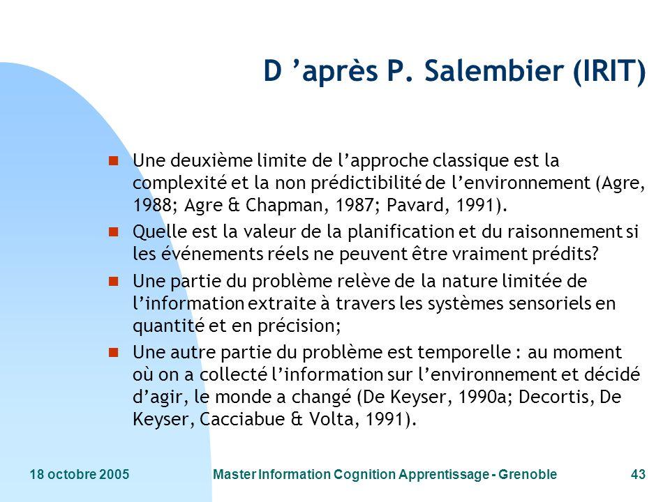 18 octobre 2005Master Information Cognition Apprentissage - Grenoble43 D après P. Salembier (IRIT) n Une deuxième limite de lapproche classique est la