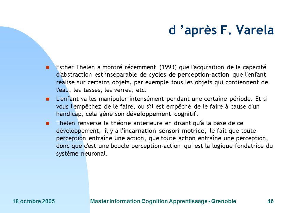 18 octobre 2005Master Information Cognition Apprentissage - Grenoble46 d après F. Varela n Esther Thelen a montré récemment (1993) que l'acquisition d