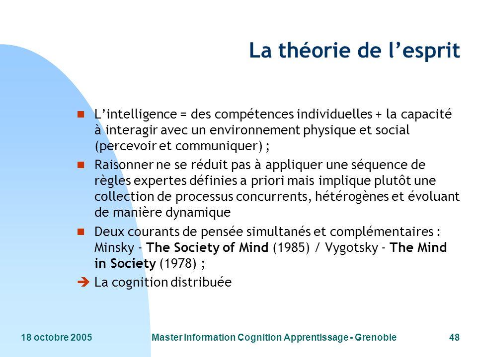 18 octobre 2005Master Information Cognition Apprentissage - Grenoble48 La théorie de lesprit n Lintelligence = des compétences individuelles + la capa